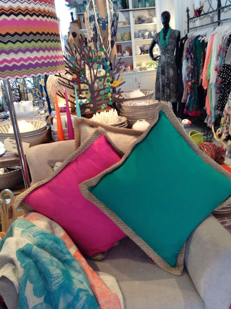 Pink and Emerald cushions