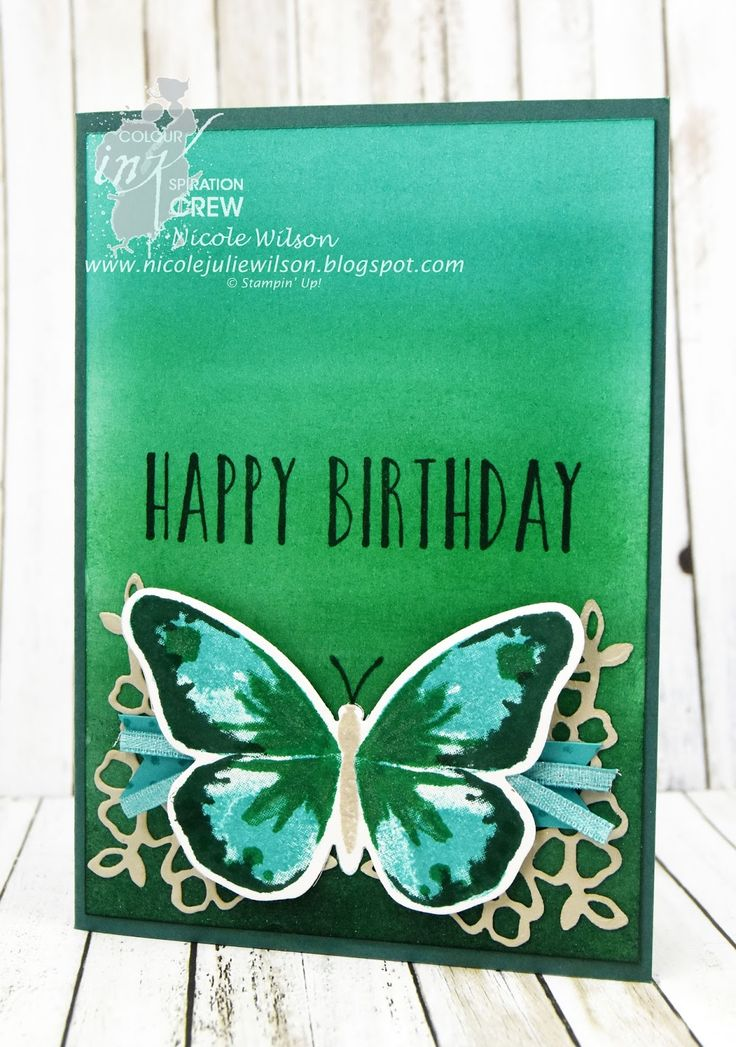 Nicole Wilson Independent Stampin' Up!® Demonstrator - Colour INKspiration 26, watercolour wings, Bermuda bay, emerald envy, tranquil tide and sahara sand #CI26 #stampinup #birthday #butterfly
