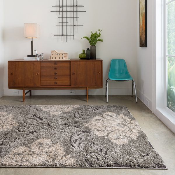 Jullian Smoke Beige Shag Rug 77 X 106 Floor DecorRoom KitchenDining