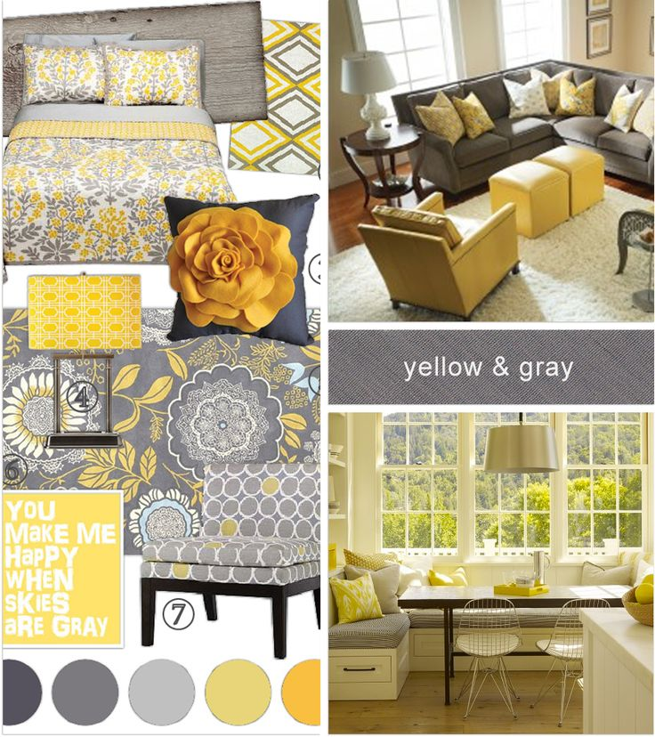 Check out the window seat would look nice with the for Grey yellow kitchen ideas