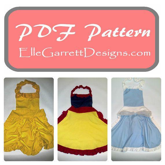 PDF Pattern - Princess Apron - Sizes 2T- Girls 14