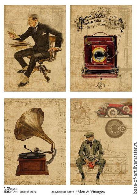 papers.quenalbertini: Men & Vintage - Decoupage Cards   Imprimolandia