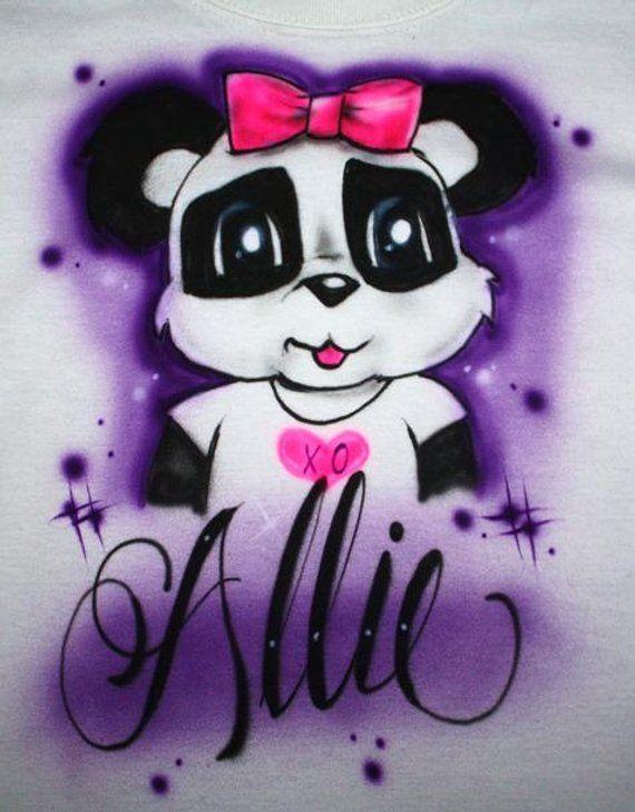 Baby//Toddler//Youth//Adult T-Shirt Custom Personalized with Name Custom Airbrush Panda Bear T-Shirt