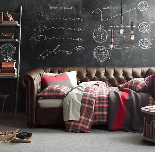 Teen boy's room - chalkboard walls, chesterfield daybed...  Or this could the the sophisticated teen boy man cave.