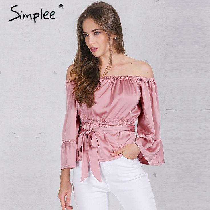 Simplee apparel sexy spalle ruffle bow camicetta camicia di raso molle flare manica parti superiori di estate delle donne del partito elegante camicette blusas