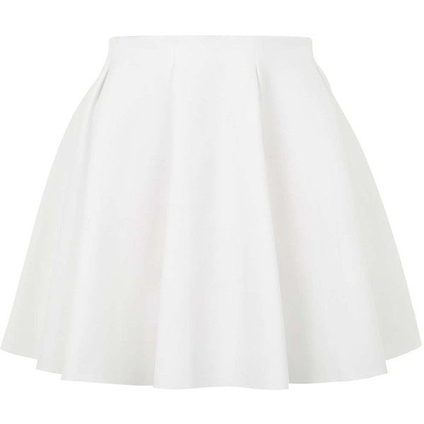TOPSHOP PETITE Box Pleat Flippy Skirt ($50) ❤ liked on Polyvore featuring skirts, bottoms, saias, faldas, petite, white, white knee length skirt, swing skirt, flippy skirt and petite white skirt