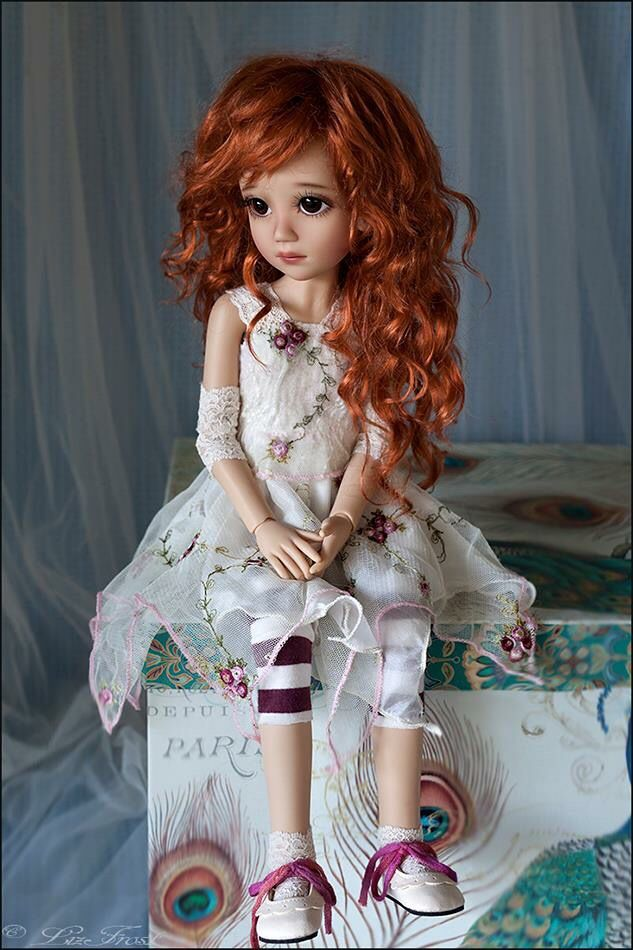 "Liz Frost BJD - This is Light Tan Luna with Monique Gold Wig ""Zoey"" in Carrot Red."