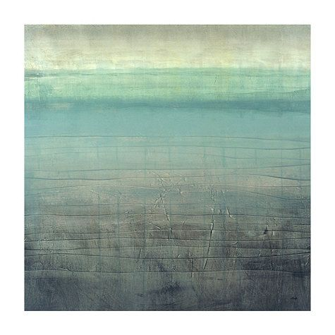 Something like this {Sea Glass Giclee} for the bathroom niche/tv shelf.  I think I can recreate something with a similar look and colors.  I just love the ocean/calming/spa-like feel of this.