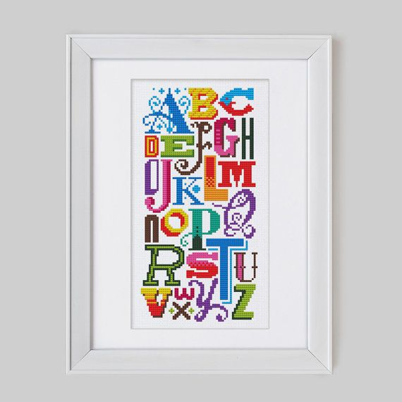 Bright Alphabet - Cross Stitch Pattern (Digital Format - PDF)
