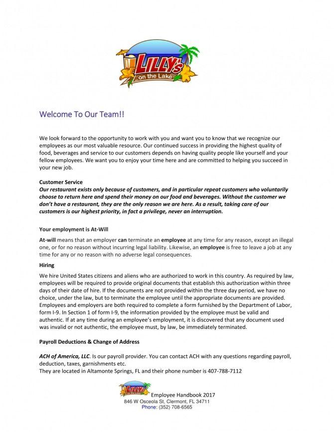 Restaurant Employee Welcome Letter Lettering Employee Welcome Letter Welcome Letter