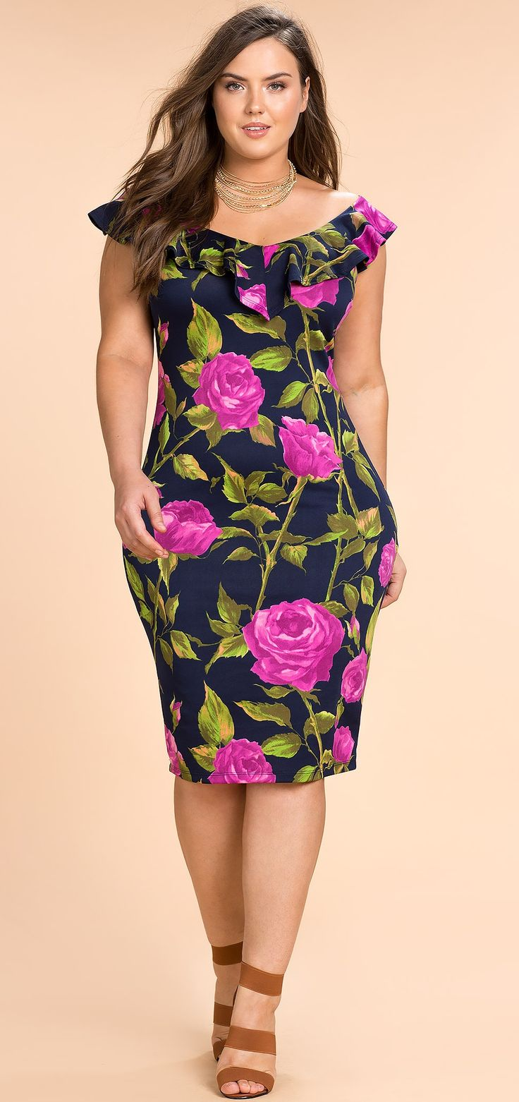 Plus Size Floral Garden Ruffle Bodycon Dress