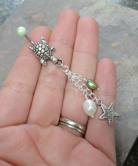 Silver Turtle Belly Button Ring