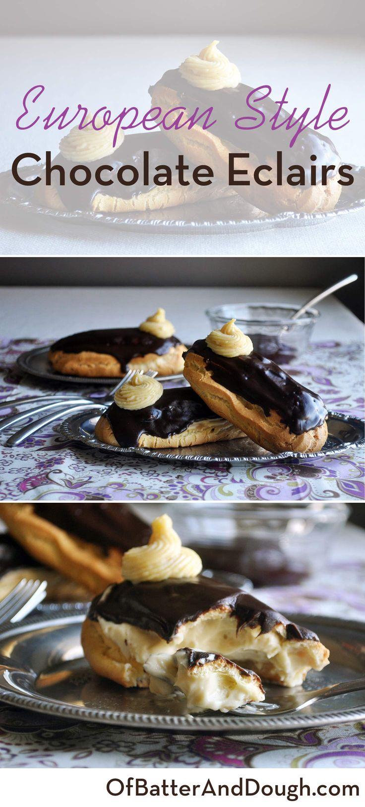 chocolate eclair dessert recipe | French pastry recipes | ofbatteranddough.com