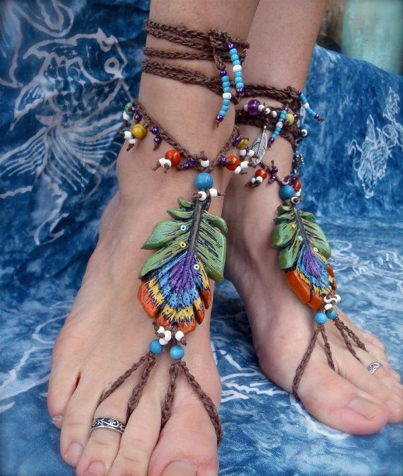 GYPSY barefoot sandals PEACOCK FEATHER
