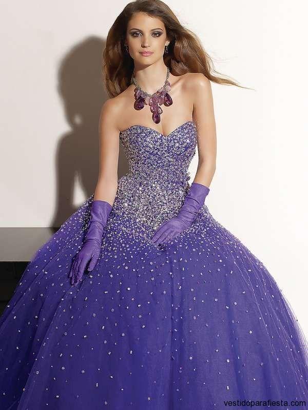 Modernos vestidos de xv anos color morado - 10