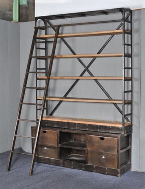 Industri le boekenkast met trap boekenkast pinterest woonidee n idee n en met - Hout deco trap ...