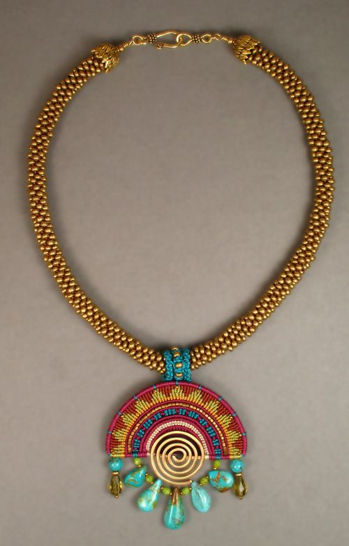 """Joan Babcock Necklace """"Sunrise"""" Necklace - Nylon cord, Turquiose and glass beads. Pendant is made with the Cavandoli knotting technique, and the collar is kumihimo"""