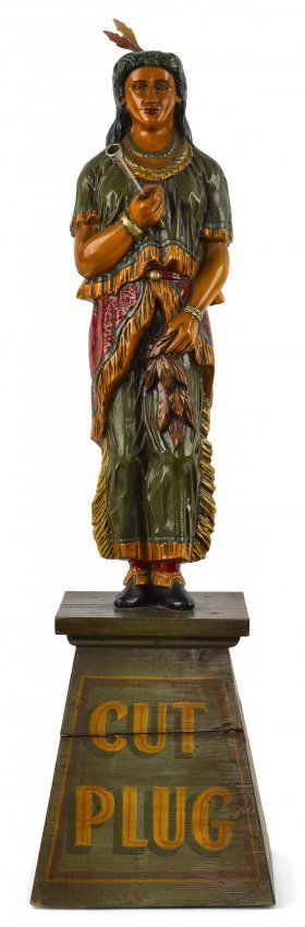 Cast iron table top cigar store Indian maiden ca.