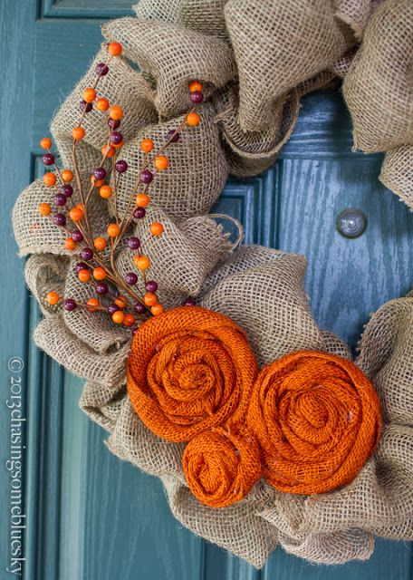 Chasing Some Blue Sky: Burlap Autumn Wreath