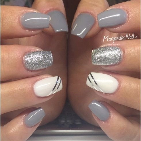 Grey And Silver by MargaritasNailz from Nail Art Gallery    unghie gel, gel unghie, ricostruzione unghie, gel per unghie, ricostruzione unghie gel http://amzn.to/28IzogL