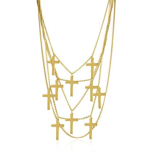 Collar de cadenas con cruces grandes