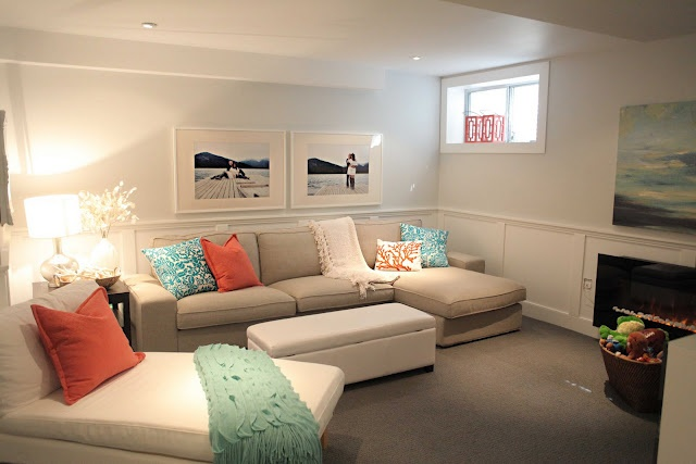 Bright basement - lots of light colours to brighten up the basement units. Like The board & batten walls too!