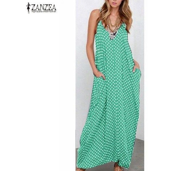Strapless Polka Dot Casual Loose Long Maxi Summer Dress ($25) ❤ liked on Polyvore featuring dresses, green polka dot dress, maxi dresses, summer maxi dresses, strapless long dresses and green maxi dress