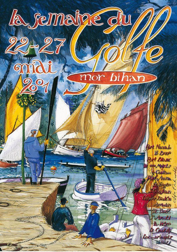 Affiche de la Semaine du Golfe du #Morbihan pour l'édition 2001 de cette grande manifestation nautique.