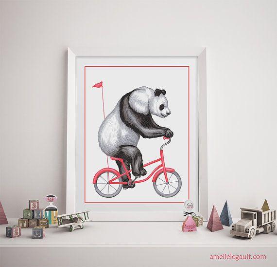 Affiche panda à bicyclette panda à vélo rose affiche pour