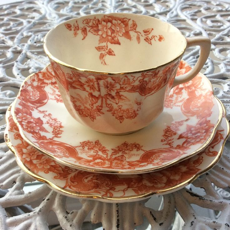 Victorian cup orange flowers by EnjoyCoffeeAndMore on Etsy