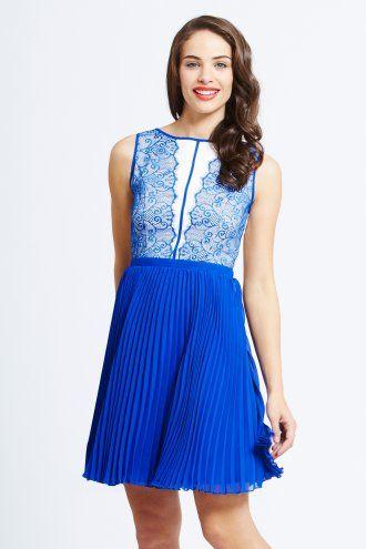 Little Mistress Blue Fit and Flare Mesh Insert Dress