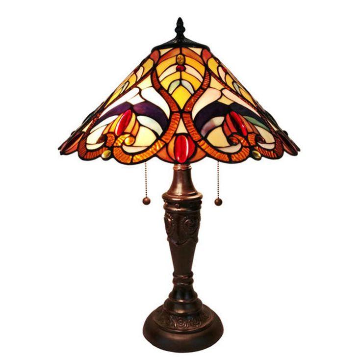 Amora Lighting 24 in. Tiffany Style Victorian Finish Table Lamp