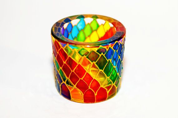 Cadle holder at https://www.etsy.com/listing/212376993/rainbow-candle-holder-painted-multicolor