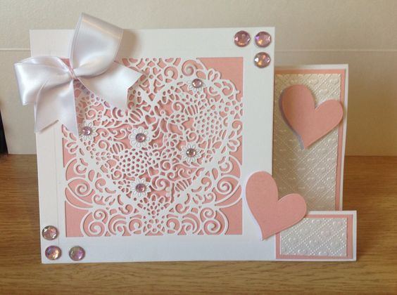 Square Side Stepper Card made using Crafter's Companion Die'sire Create a Card die - Floral lace heart die & Fancy card blank. Designed by Kelly Lloyd. #crafterscompanion
