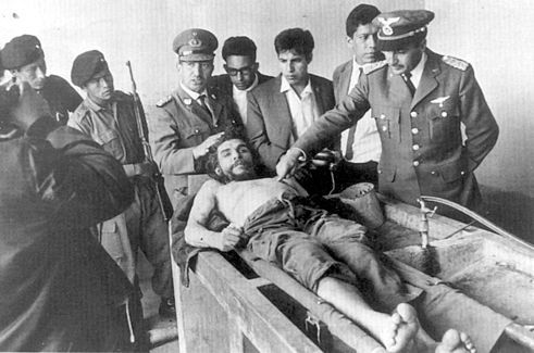 The day after his execution on October 10, 1967, Che Guevara's corpse displayed to the world press