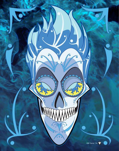 Hades Disney Villain Día de MuertosSugar Skull 11x14 Print I studied the characteristics of each Disney villain to ensure their skull was one of a kind