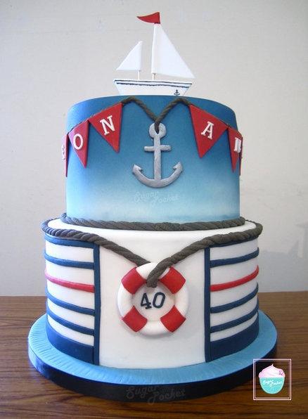 Nautical cake - by SugarPocket @ CakesDecor.com - cake decorating website