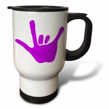 3dRose Love Hand Sign Language in Purple, Travel Mug, 14oz, Stainless Steel