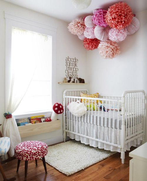 A baby mobile cluster made of paper lanterns + paper pom poms perfect for:  nursery decor  wedding decor  baby & bridal showers  photo shoots  store & window displays  children's rooms   Set includes:  4 lanterns: select from white, red, orange, yellow, green, blue, purple, pink, or sil...: Nursery Idea, Ideas, Pompoms, Pom Poms, Kids Room, Kidsroom, Baby Girl, Baby Room, Rooms
