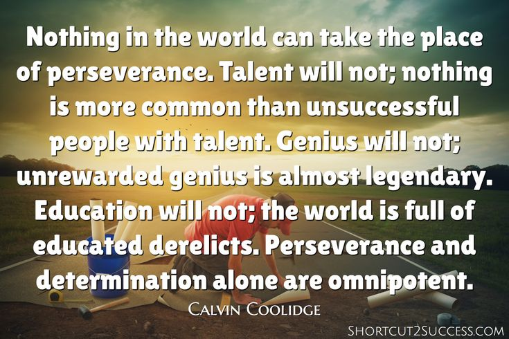 Nothing in the world can take the place of perseverance. Talent will not; nothing is more common than unsuccessful people with talent. Genius will not; unrewarded genius is almost legendary. Education will not; the world is full of educated derelicts. Perseverance and determination alone are omnipotent.