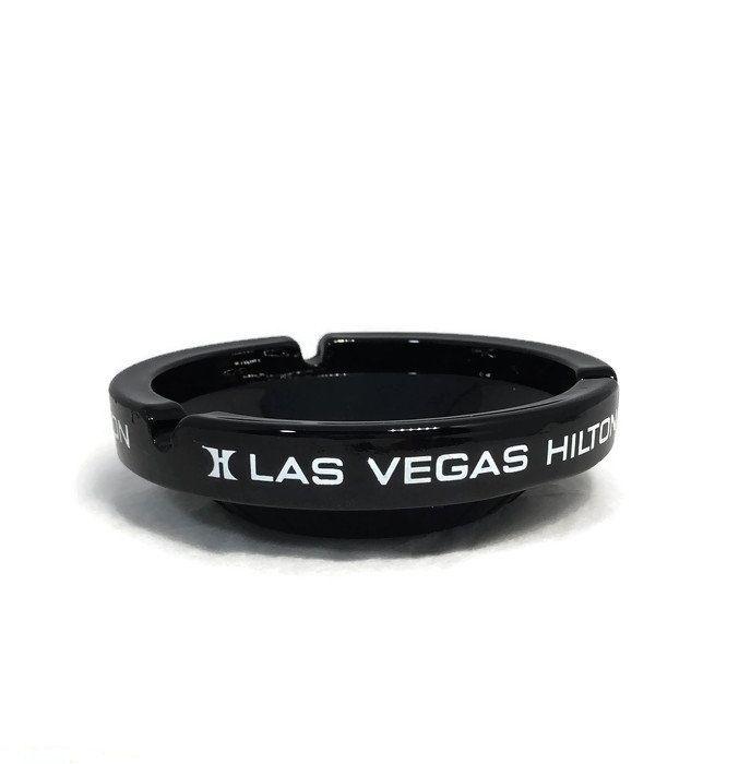 Las Vegas Hilton Ashtray Black Glass