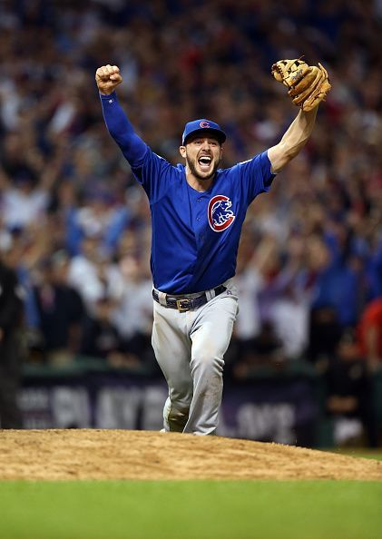 Kris Bryant of the Chicago Cubs reacts after making the throw to first for the final out in of Game 7 of the 2016 World Series against the Cleveland...