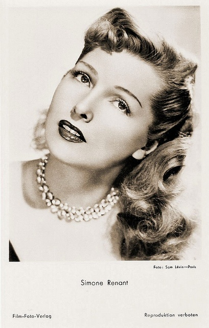 """""""Beautiful French film and stage actress Simone Renant (1911–2004) appeared in 43 films between 1932 and 1980. The elegant blonde actress is best known for her roles in Quai des Orfèvres (1947) and the original French version of Dangerous Liasions, Les liaisons dangereuses (1959)."""" #vintage #French #actress #1940s #1950s #hair #movies #films"""