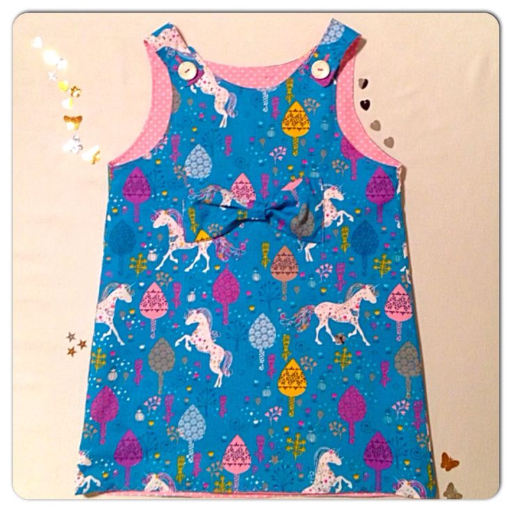 100% cotton A-line dress with bow detail and 'magical unicorn' print. Age 4-5  Www.facebook.com/SewCraft-tastic