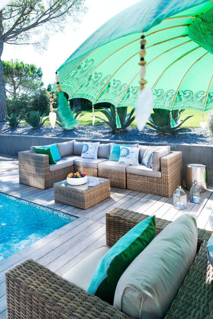 Parasol en bois BALI, Turquoise, L:185 cm - Protection contre le soleil - Boutique en ligne micasa.ch