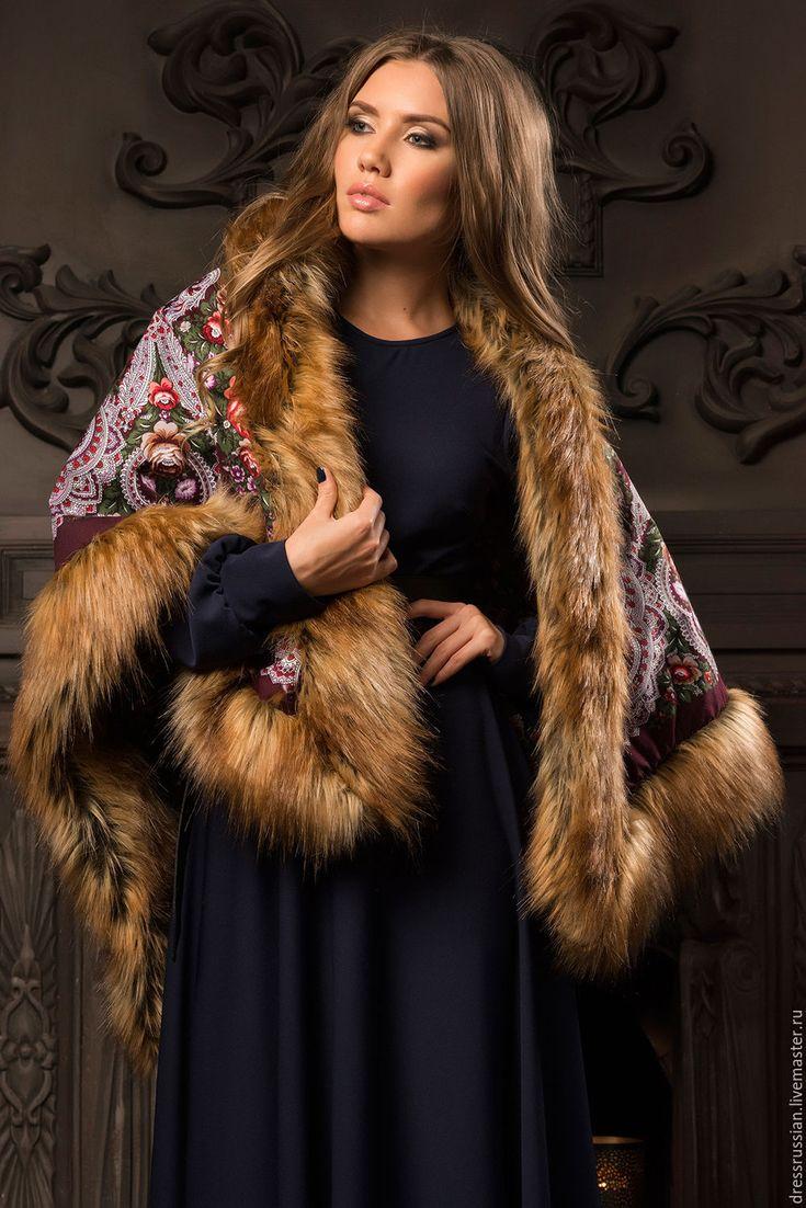 Купить Платок накидка с мехом в стиле А-ля Русс. - русский стиль, пальто