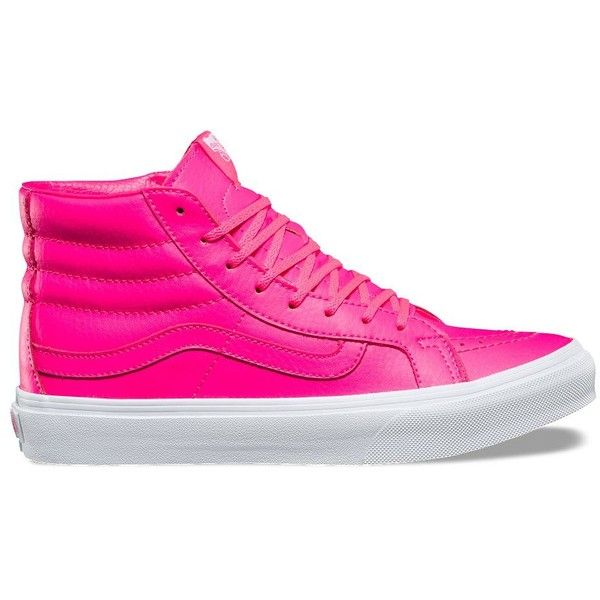 Vans Neon Leather SK8-Hi Slim ($70) ❤ liked on Polyvore featuring shoes, sneakers, pink, pink high tops, leather shoes, neon sneakers, leather sneakers and leather high tops