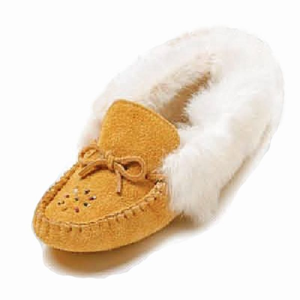 Womens Moosehide Suede Beaded Moccasins With white Rabbit Fur Trim