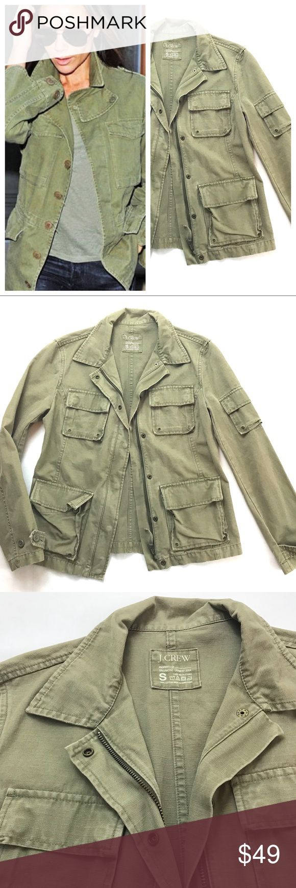 J.Crew Green Military Jacket Green military jacket with four four front pockets, one arm pocket and zipper with snap buttons.  Cover photo for styling purposes only. Jackets & Coats