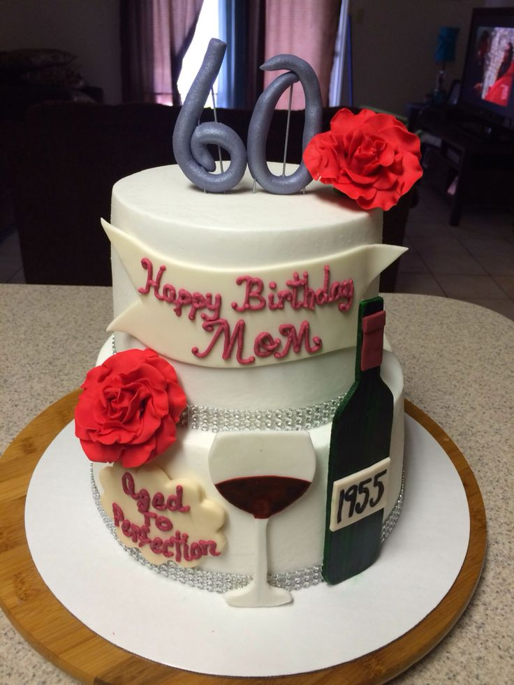 Aged To Perfection Birthday Cake W Wine Bottle And Glass